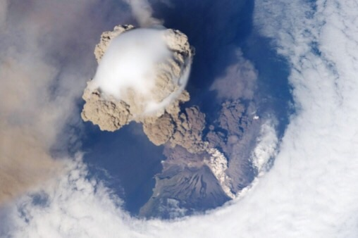 CAPTION This is a plume of ash from the Sarychev volcano in the Kuril islands, northeast of Japan. The picture was taken from the International Space Station during the early stage of the volcano's eruption on June 12, 2009.