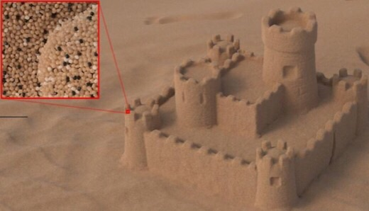 CAPTION A digital sandcastle consists of millions of grains. Its photorealistic presentation by a computer now becomes more computation-efficient.