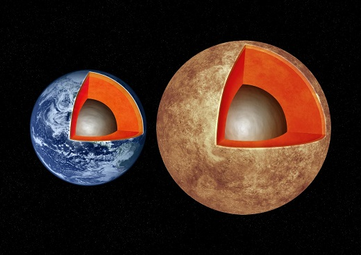 CAPTION This artist's illustration compares the interior structures of Earth (left) with the exoplanet Kepler-93b (right), which is one and a half times the size of Earth and 4 times as massive. New research finds that rocky worlds share similar structures, with a core containing about a third of the planet's mass, surrounded by a mantle and topped by a thin crust. CREDIT M. Weiss/CfA
