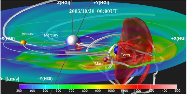 CAPTION A coronal mass ejection event showing a representation of the flux rope anchored at the sun and the propagation of the magnetic flux rope through space toward Earth. The white shaded lines indicate the magnetic field lines. Red shade indicates high speed stream in the front of the CME.