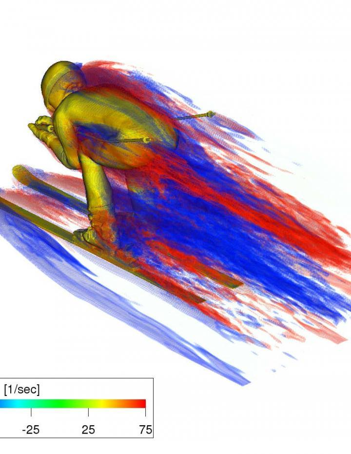This is a flow visualization of dominant vortex structure of the full-tuck posture of the downhill skier at a flow speed of 40 m/s. Red: counterclockwise vortexes, Blue: clockwise vortexes, viewed from the back.