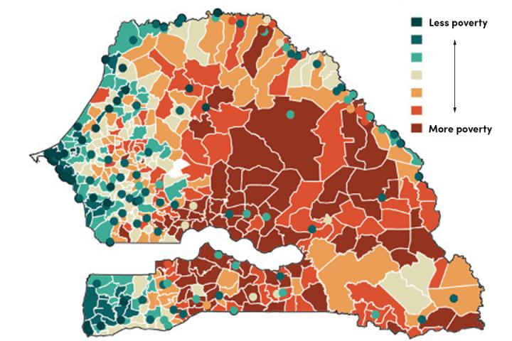 This image depicts a poverty map (552 communities) of Senegal generated using the researchers' supercomputational tools.