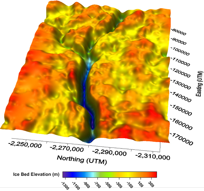A 3-D map of bedrock beneath Jakobshavn Glacier generated with ice-penetrating radar data. Image Credit: Center for Remote Sensing of Ice Sheets