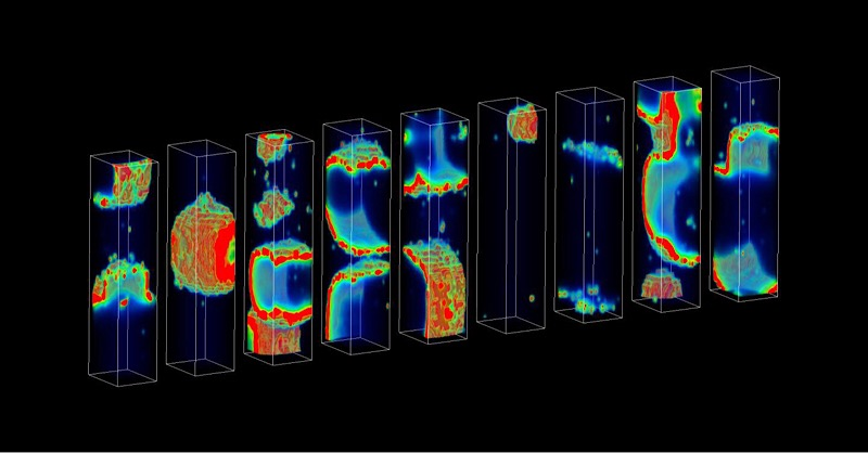 Each rectangular structure represents a heart cell in the supercomputer model. The color bursts depict propagating waves of calcium. Each cell is identical but exhibits a distinct pattern of calcium waves due to random ion channel gating. The team investigated how this randomness gives rise to sudden unpredictable heart arrhythmia. CREDIT PLOS Computational Biology/Mark A. Walker