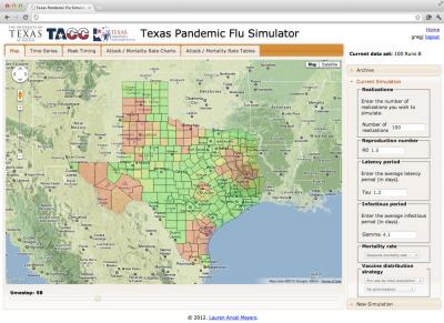 The Texas Pandemic Flu Simulator allows for simulation of flu pandemics across the state of Texas under user-defined scenarios. Antiviral, vaccine, and public health announcement interventions are modeled. Results can be interactively visualized.  Credit: Dr. Lauren Ancel Meyers, the University of Texas at Austin, Texas Advanced Computing Center