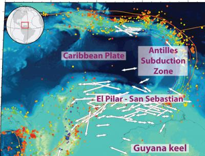 This is a tectonic map of the southeastern Caribbean with shear-wave splitting measurements  Credit: Courtesy of Meghan Miller and Thorsten Becker