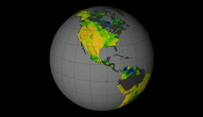 This visualization shows soil moisture measurements taken by NASA's Aquarius instrument. Here, soil moisture in the top 2 inches of the land is visible.  Credit: NASA Goddard's Science Visualization Studio/T. Schindler