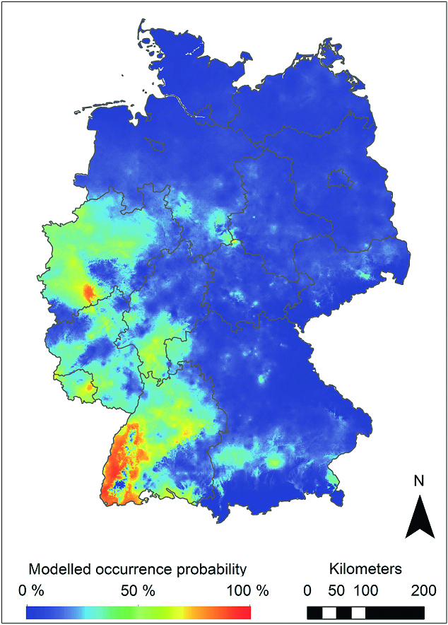 Modeled distribution areas of the Asian rock pool mosquito in Germany. Warm colors (on a scale from blue to red) indicate a higher likelihood of settlement. © Senckenberg