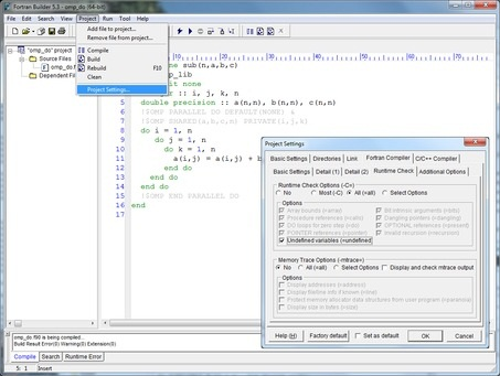 Screenshot shows NAG Fortran Builder Debugging an OpenMP Fortran Program