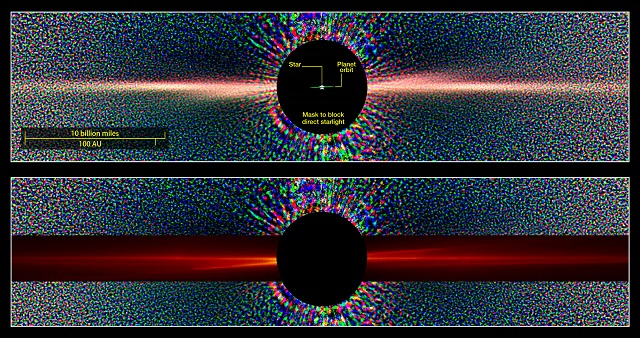 CAPTION These images compare a view of Beta Pictoris in scattered light as seen by the Hubble Space Telescope (top) with a similar view constructed from data in the SMACK simulation (red overlay, bottom). The X pattern in the Hubble image forms as a result of a faint secondary dust disk inclined to the main debris disk. Previous simulations were unable to reproduce this feature, but the SMACK model replicates the overall pattern because it captures the three-dimensional distribution of the collisions responsible for making the dust. CREDIT Courtesy of: Top, NASA/ESA and D. Golimowski (Johns Hopkins Univ.); bottom, NASA Goddard/E. Nesvold and M. Kuchner