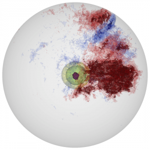 The inner 1,000 kilometer radius of a 1,700 kilometer radius white dwarf star is simulated using the MAESTRO code on the Jaguar supercomputer. The yellow/green/purple contours show the progression of nuclear energy generation. The red and blue contours indicate regions of outward and inward convection. Image courtesy M. Zingale, Stony Brook University, and A. Nonaka, Lawrence Berkeley National Laboratory