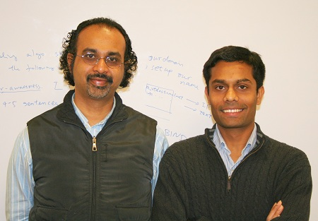Hari Pyla, right, a doctoral candidate in computer science at Virginia Tech, and his advisor, Srinidhi Varadarajan, an associate professor in the department.