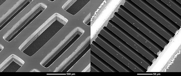 A new electronics-cooling technique relies on microchannels, just a few microns wide, embedded within the chip itself. The device was built at Purdue University's Birck Nanotechnology Center. (Purdue University photo/ Kevin P. Drummond)